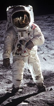 Buzz Aldrin on the moon in 1969